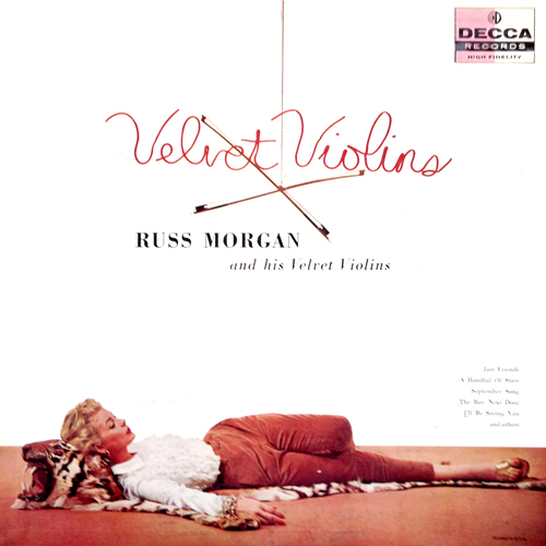 russ-morgan-velvet-violins-lp-cover-with-woman-lying-on-tiger-pelt-skin-rug